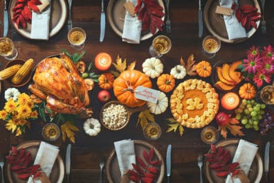 A Thanksgiving meal on a table