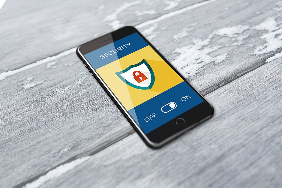 Cell phone with cybersecurity on the screen