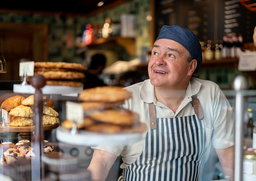 A small business owner in a bakery